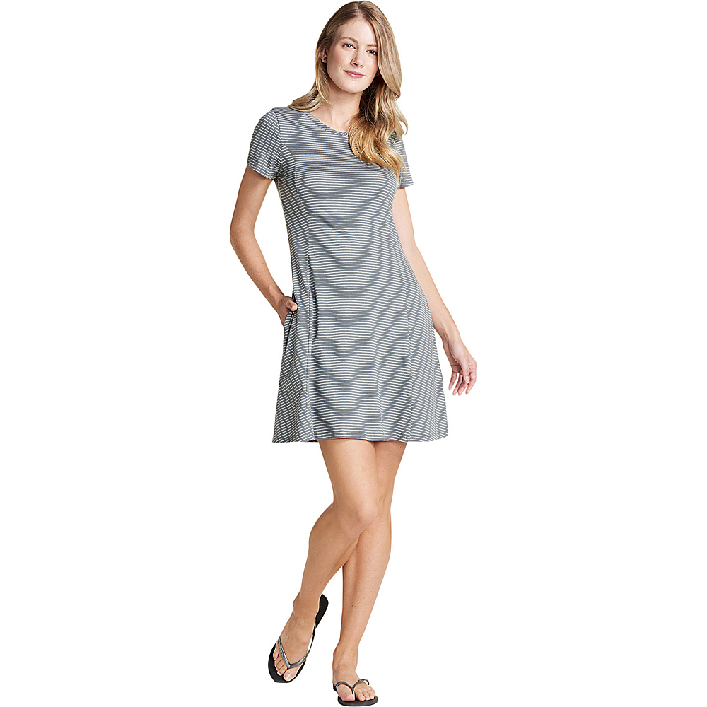 Toad & Co Womens Windmere Short Sleeve Dress XS - Smoke Lean Stripe - Toad & Co Womens Apparel - Apparel & Footwear, Women's Apparel