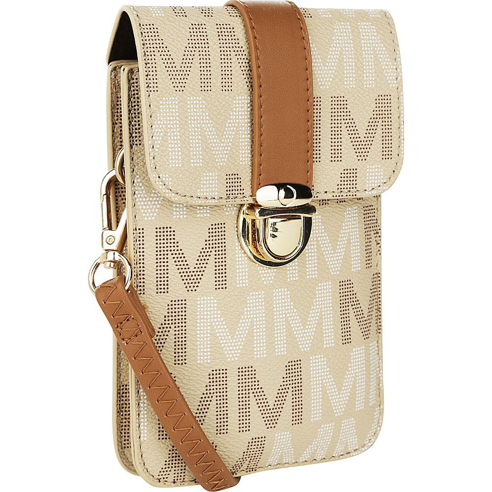 MKF Collection by Mia K. Farrow Lulu M Signature Phone Wallet/Crossbody Beige - MKF Collection by Mia K. Farrow Manmade Handbags - Handbags, Manmade Handbags