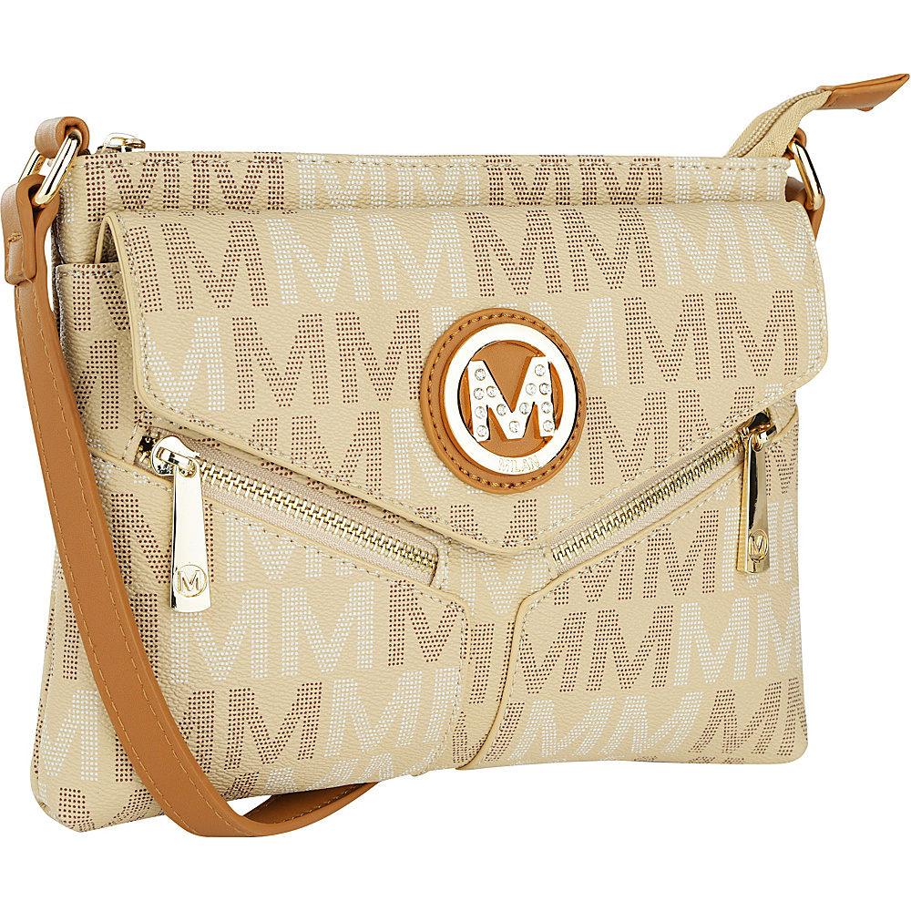 MKF Collection by Mia K. Farrow Nathy Milan M Signature Crossbody Beige - MKF Collection by Mia K. Farrow Manmade Handbags - Handbags, Manmade Handbags