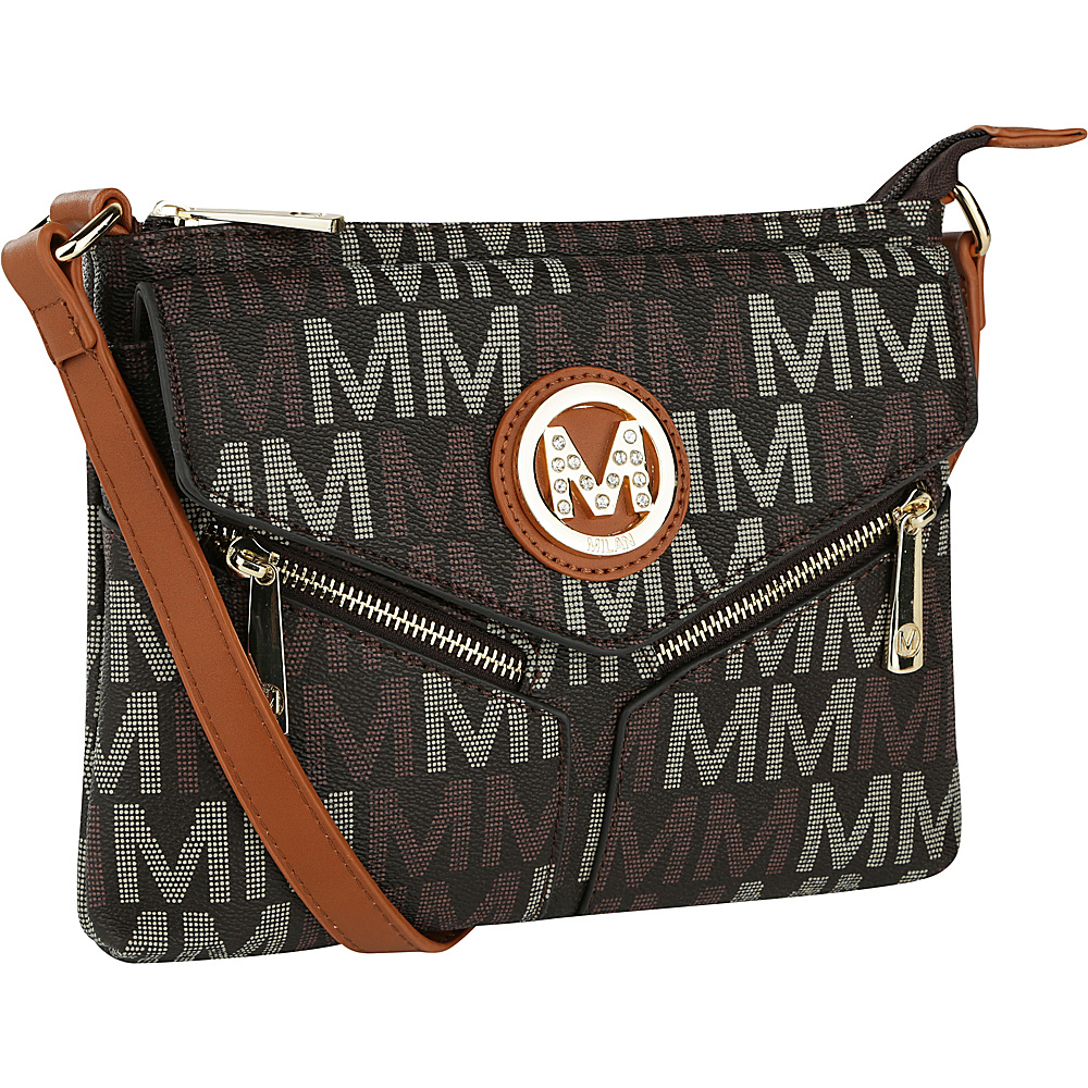 MKF Collection by Mia K. Farrow Nathy Milan M Signature Crossbody Brown - MKF Collection by Mia K. Farrow Manmade Handbags - Handbags, Manmade Handbags