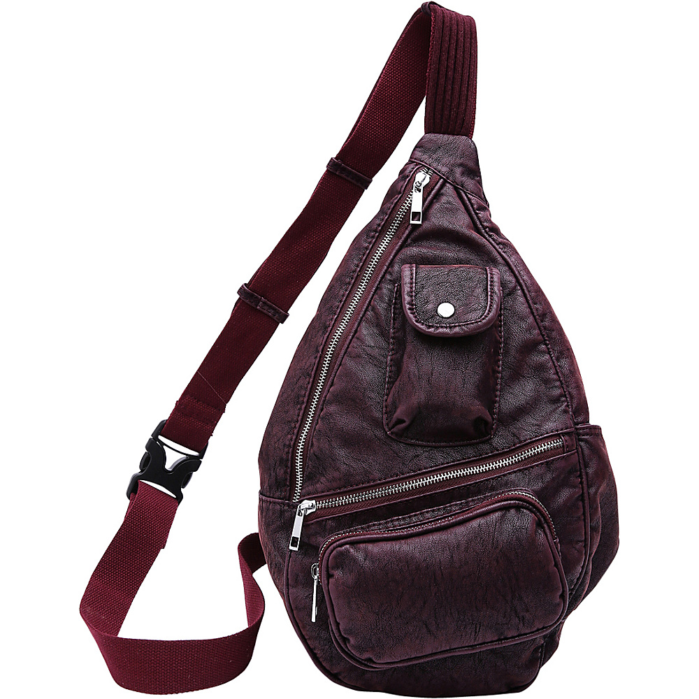 MKF Collection by Mia K. Farrow Vintage Soft Washed Effect Slim Backpack Burgundy - MKF Collection by Mia K. Farrow Manmade Handbags - Handbags, Manmade Handbags