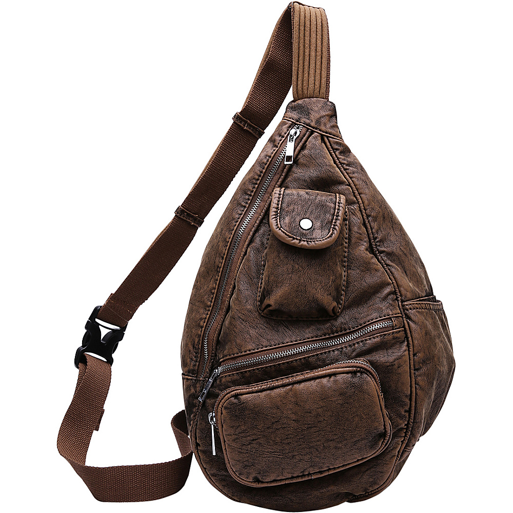MKF Collection by Mia K. Farrow Vintage Soft Washed Effect Slim Backpack Brown - MKF Collection by Mia K. Farrow Manmade Handbags - Handbags, Manmade Handbags