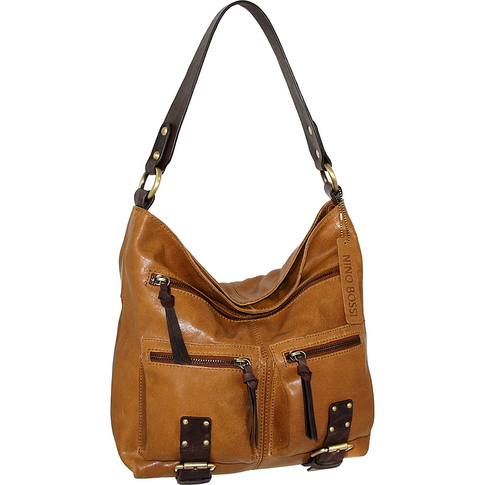 Nino Bossi Daphne Shoulder Bag Saddle - Nino Bossi Leather Handbags - Handbags, Leather Handbags