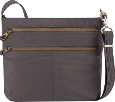Travelon Anti-Theft Signature Double Zip Crossbody Bag Smoke/Plum Interior - Travelon Fabric Handbags