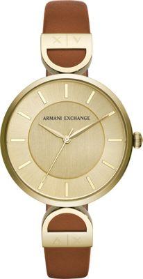 A/X Armani Exchange Women's Three-Hand Brown Leather Watc...