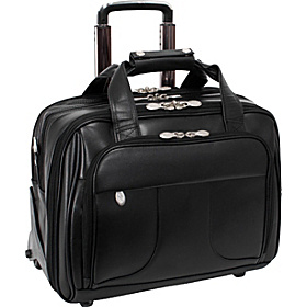 Chicago Leather Wheeled 17'' Laptop Case Black