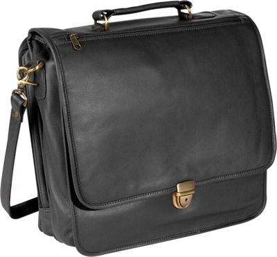 Royce Leather Large Laptop Organizer Briefcase - Black