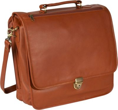 Royce Leather Large Laptop Organizer Briefcase - Tan