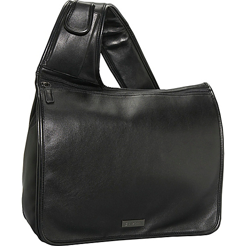 Bisadora Black Glazed Leather Messenger - Black