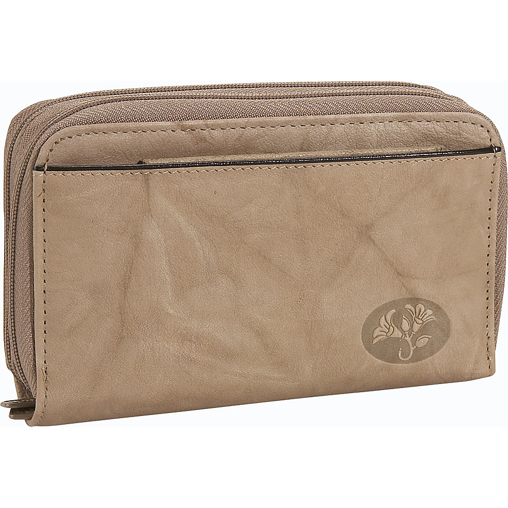 Buxton Heiress Double Zip-Around Indexer - Taupe