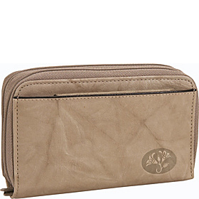 Heiress Double Zip-Around Indexer Taupe