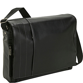 What's The Bag Idea? Full-Grain Leather Laptop Messenger Bag Black