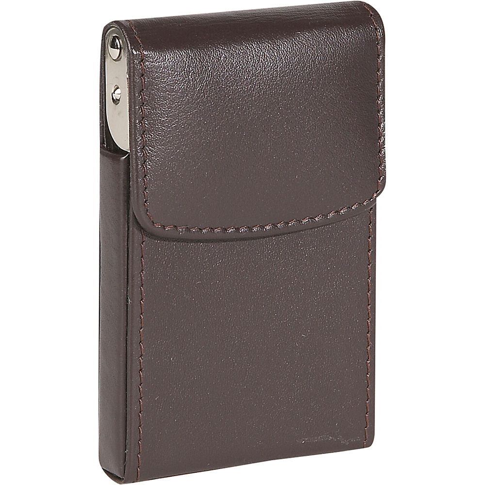 Royce Leather Vertical Framed Card Case - Brown - Work Bags & Briefcases, Business Accessories