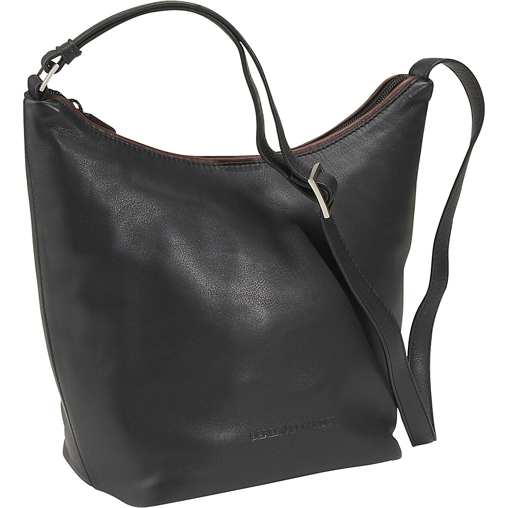 Derek Alexander Top Zip Bucket Bag - Black/Brandy - Handbags, Leather Handbags