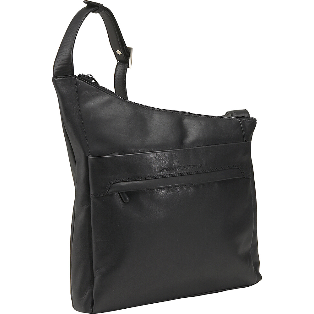 Derek Alexander North/South Angled Hobo - Black - Handbags, Leather Handbags