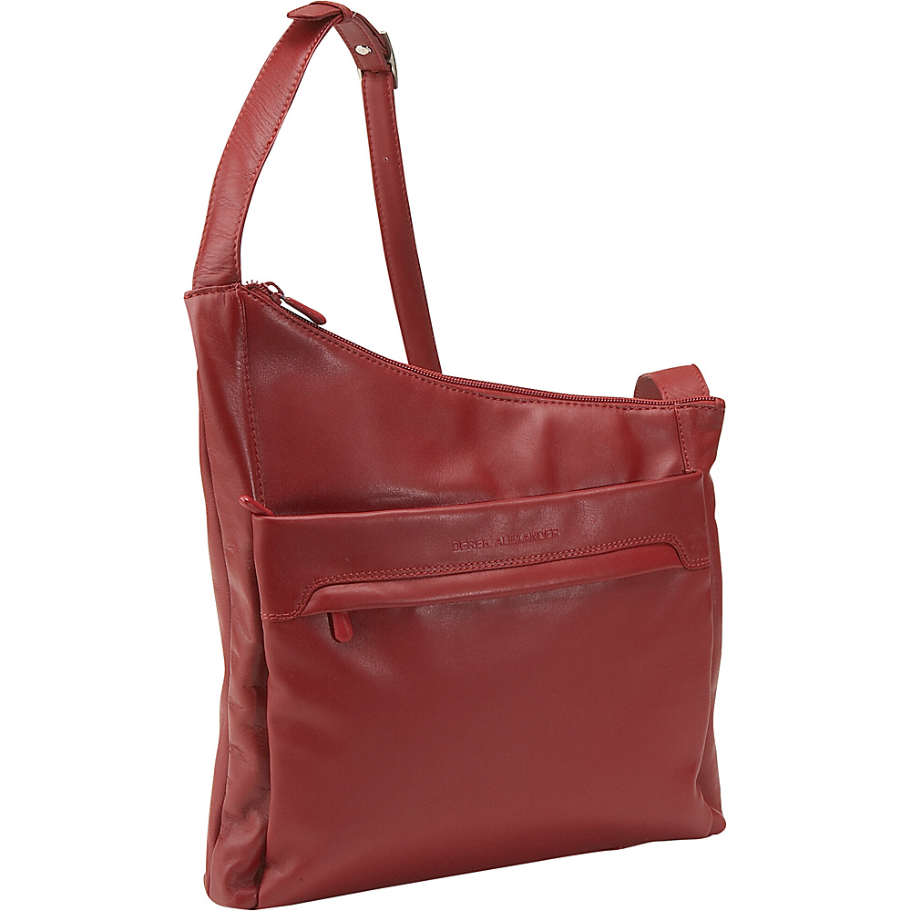 Derek Alexander North/South Angled Hobo - Red - Handbags, Leather Handbags