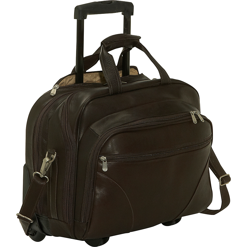 Piel Office On Wheels - Chocolate - Work Bags & Briefcases, Wheeled Business Cases