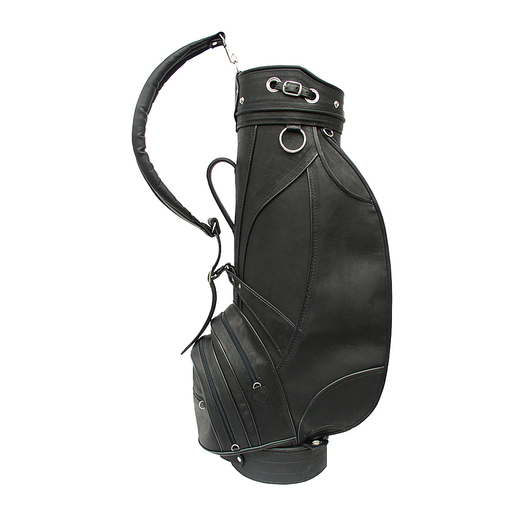 Piel Deluxe 9 Leather Golf Bag - Black - Sports, Golf Bags