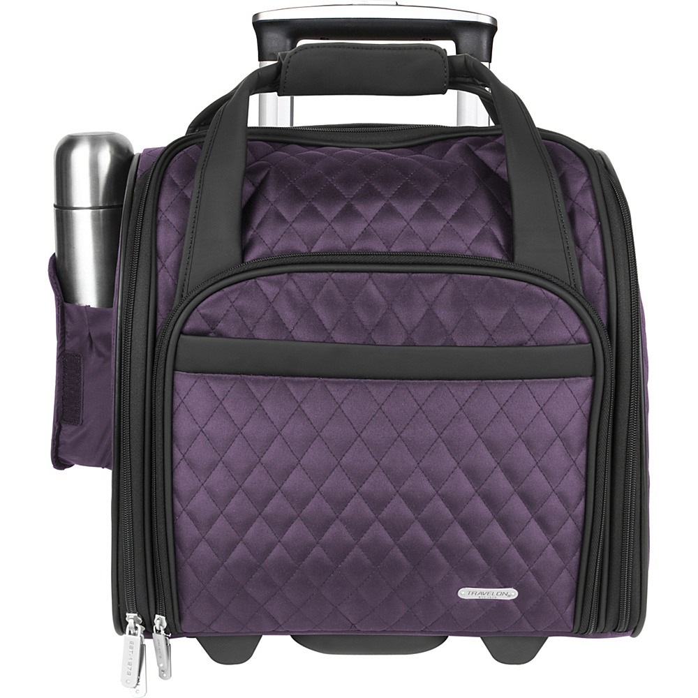 "Travelon Wheeled Underseat Carry-On Bag - 14"" Eggplant - Travelon Softside Carry-On"