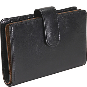 Ladies Multi Compartment Clutch Black/Tan