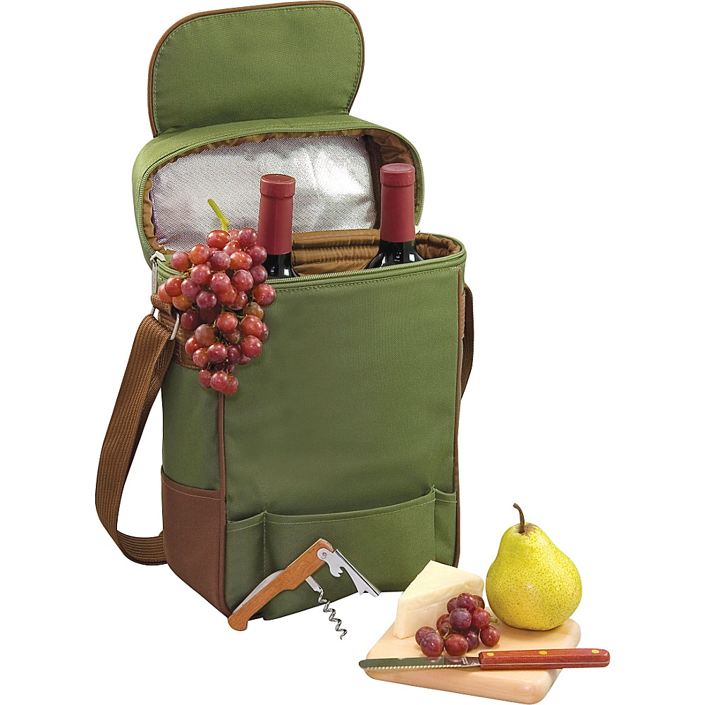 Picnic Time Duet Wine and Cheese Tote Pine Olive Picnic Time Outdoor Accessories