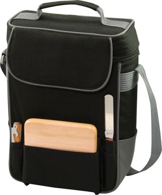 Picnic Time Duet Wine and Cheese Tote Black w/Gray - Picnic Time Outdoor Accessories