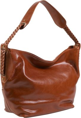 Derek Alexander Large Open Top Glazed Leather Hobo Tan - Derek Alexander Leather Handbags