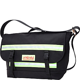 Reflective Bike Messenger Bag- Medium Black