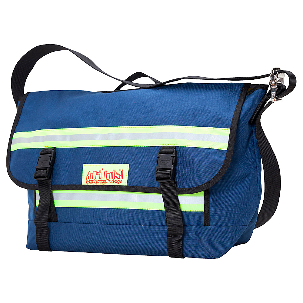 Manhattan Portage Reflective Bike Messenger Bag- Medium Navy - Manhattan Portage Messenger Bags