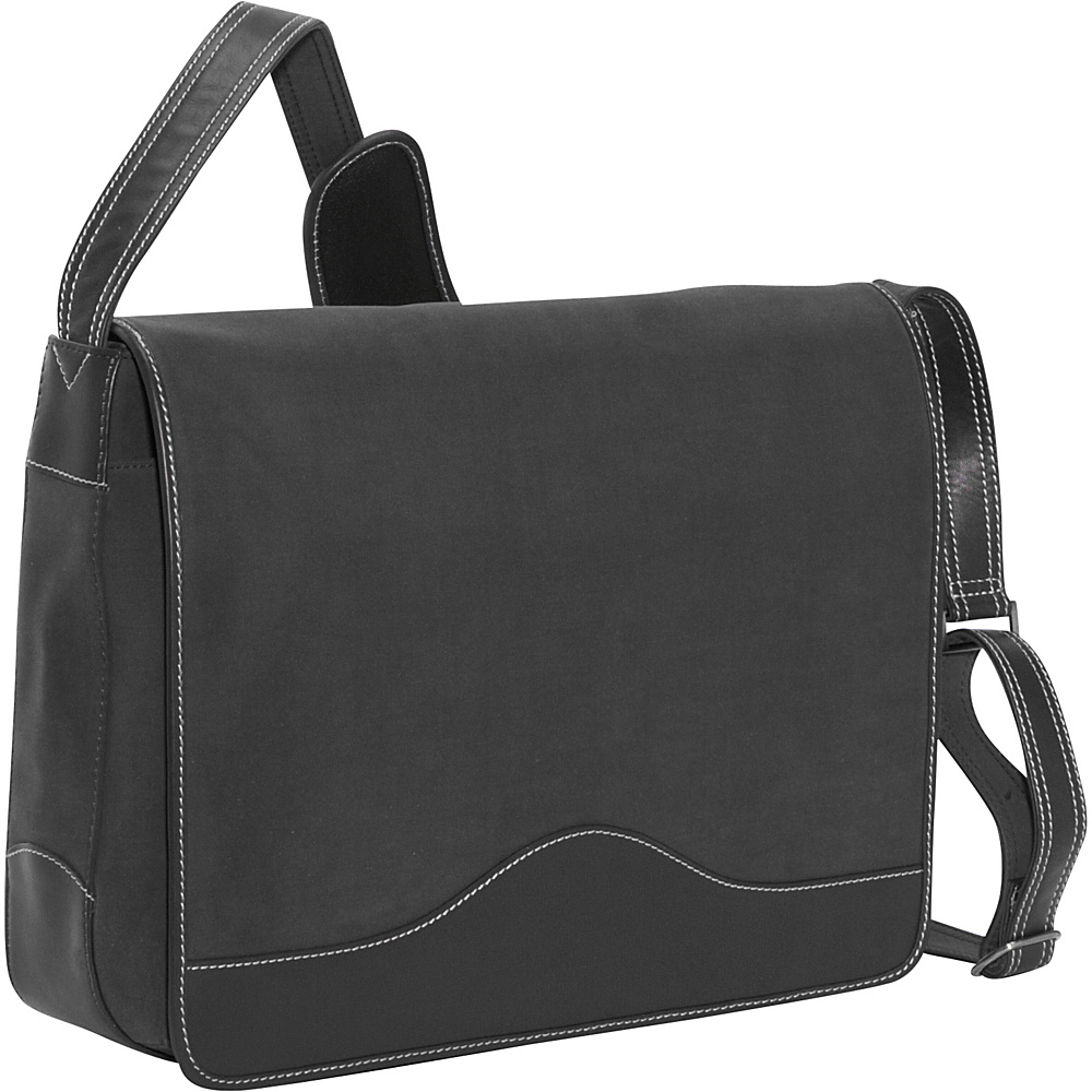 Bellino The Commander Leather Messenger - Black - Work Bags & Briefcases, Messenger Bags