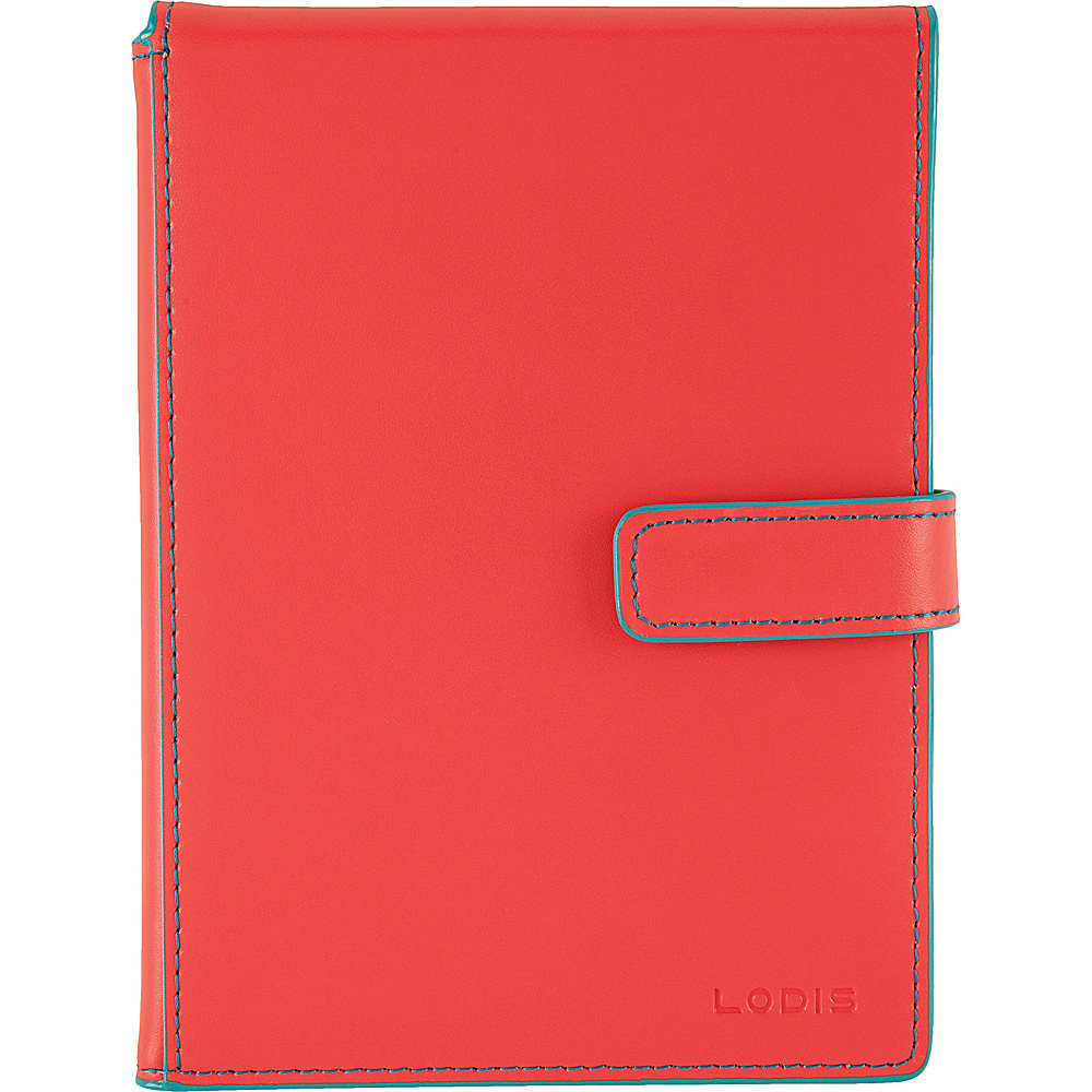 Lodis Audrey Passport Wallet with Ticket Flap - Discontinued Colors Coral/Turquoise - Lodis Travel Wallets - Travel Accessories, Travel Wallets
