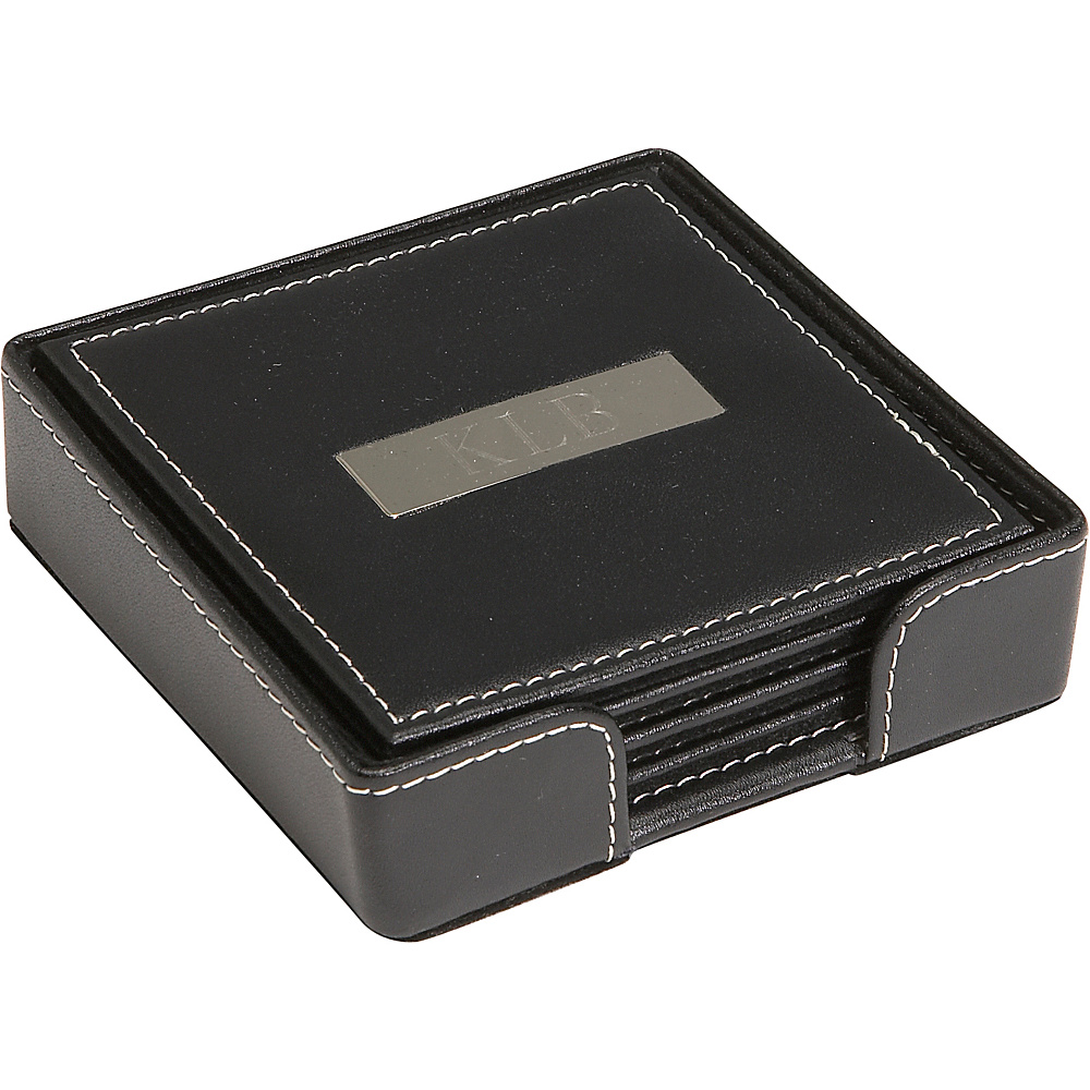 Royce Leather 2 Engraved Plate Square Coasters - Black - Work Bags & Briefcases, Business Accessories