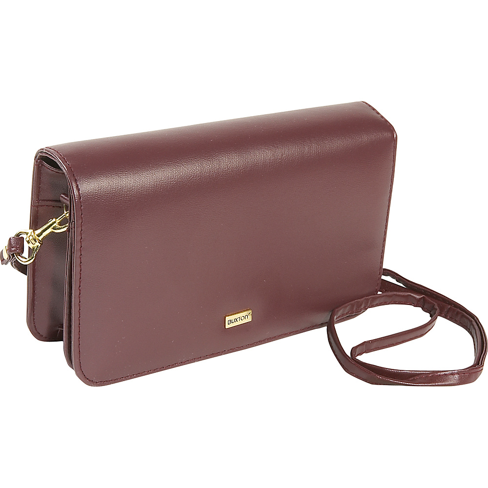 Buxton Check Clutch Mini Bag On A String - Burgundy