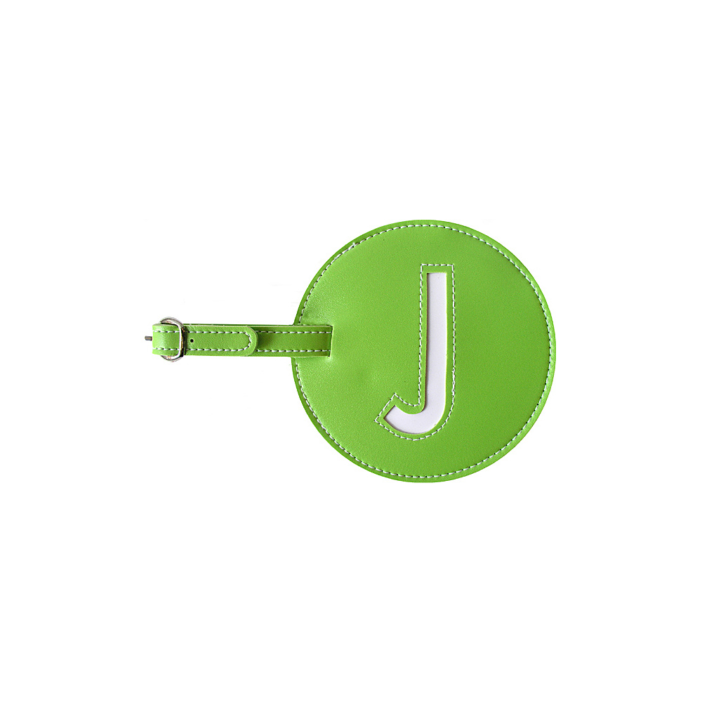pb travel Initial J Luggage Tags Set of 2 Green pb travel Luggage Accessories