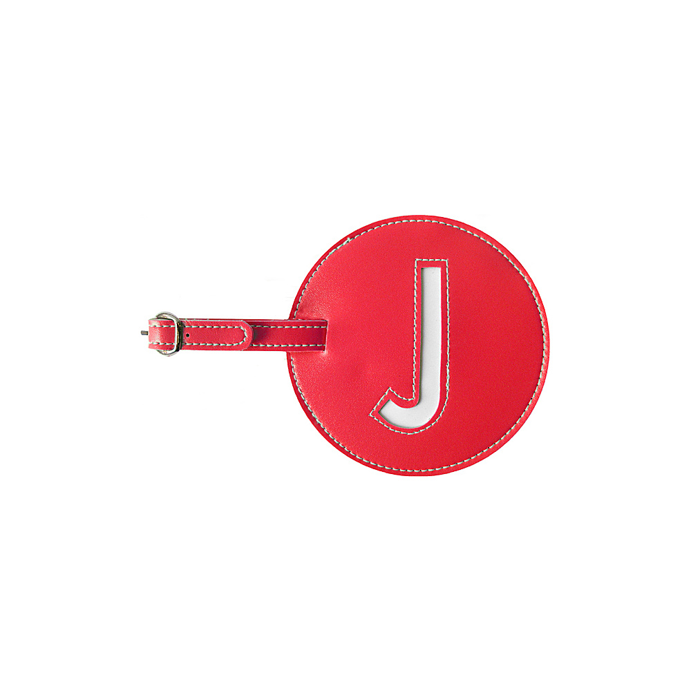 pb travel Initial J Luggage Tags Set of 2 Red pb travel Luggage Accessories