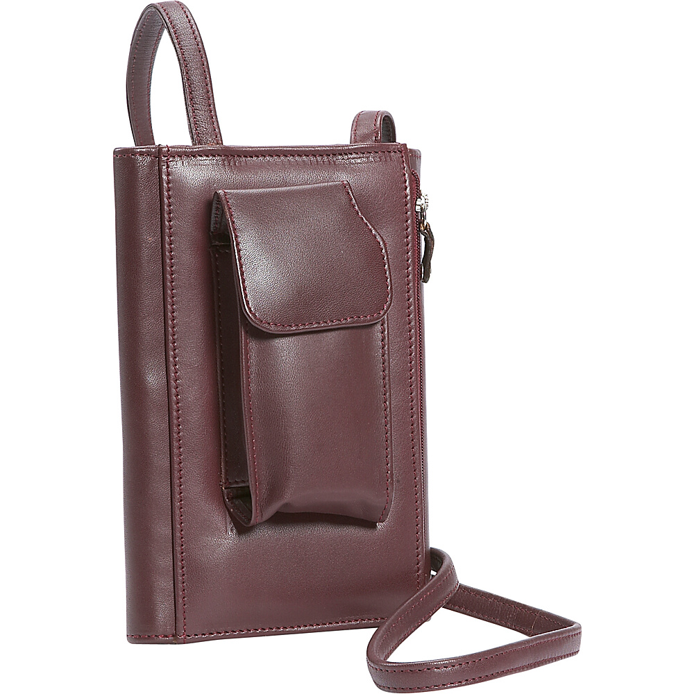 Leatherbay Leather Purse w/Strap - Burgundy - Women's SLG, Women's Wallets
