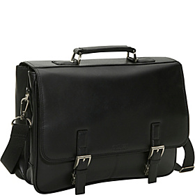 A Brief History - Leather Flapover Portfolio Black