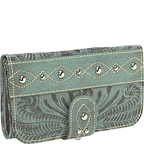 Over the Rainbow Tri-fold Wallet Antique Turquoise
