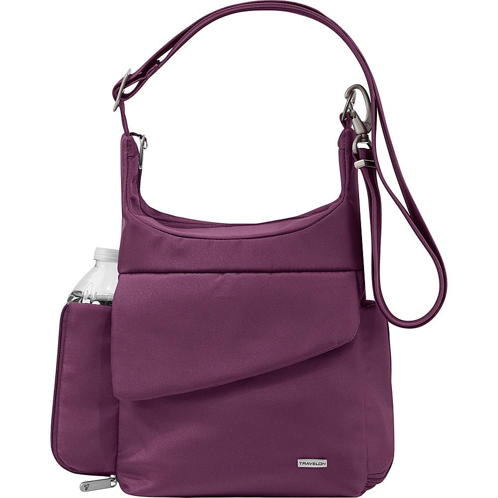 Travelon Anti-Theft Classic Messenger Bag - Exclusive Colors Plum - Exclusive Color - Travelon Fabric Handbags - Handbags, Fabric Handbags