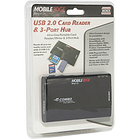USB 2.0 3-Port Hub & Card Reader/Writer Black w/Platinum Trim