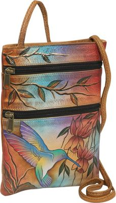 Anuschka Mini Travel Companion Crossbody Flying Jewels - Anuschka Leather Handbags