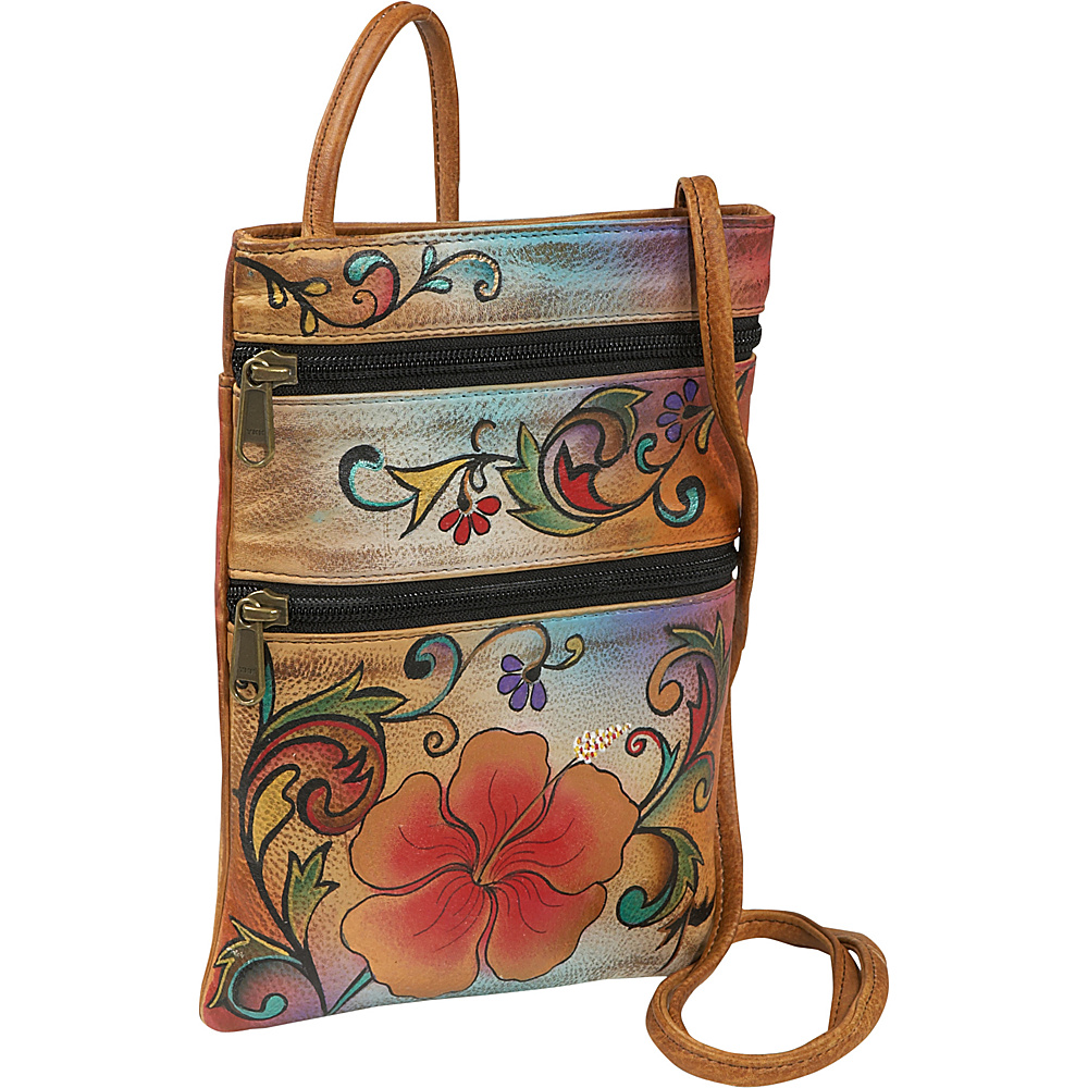 Anuschka Mini Travel Companion Crossbody Henna Floral Anuschka Leather Handbags