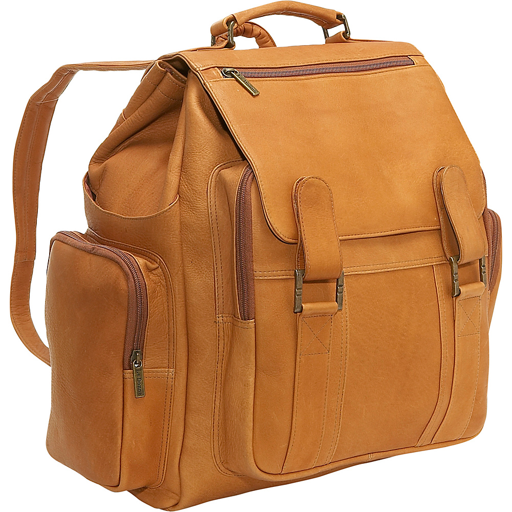 Le Donne Leather Large Traveler Back Pack - Tan - Backpacks, Everyday Backpacks