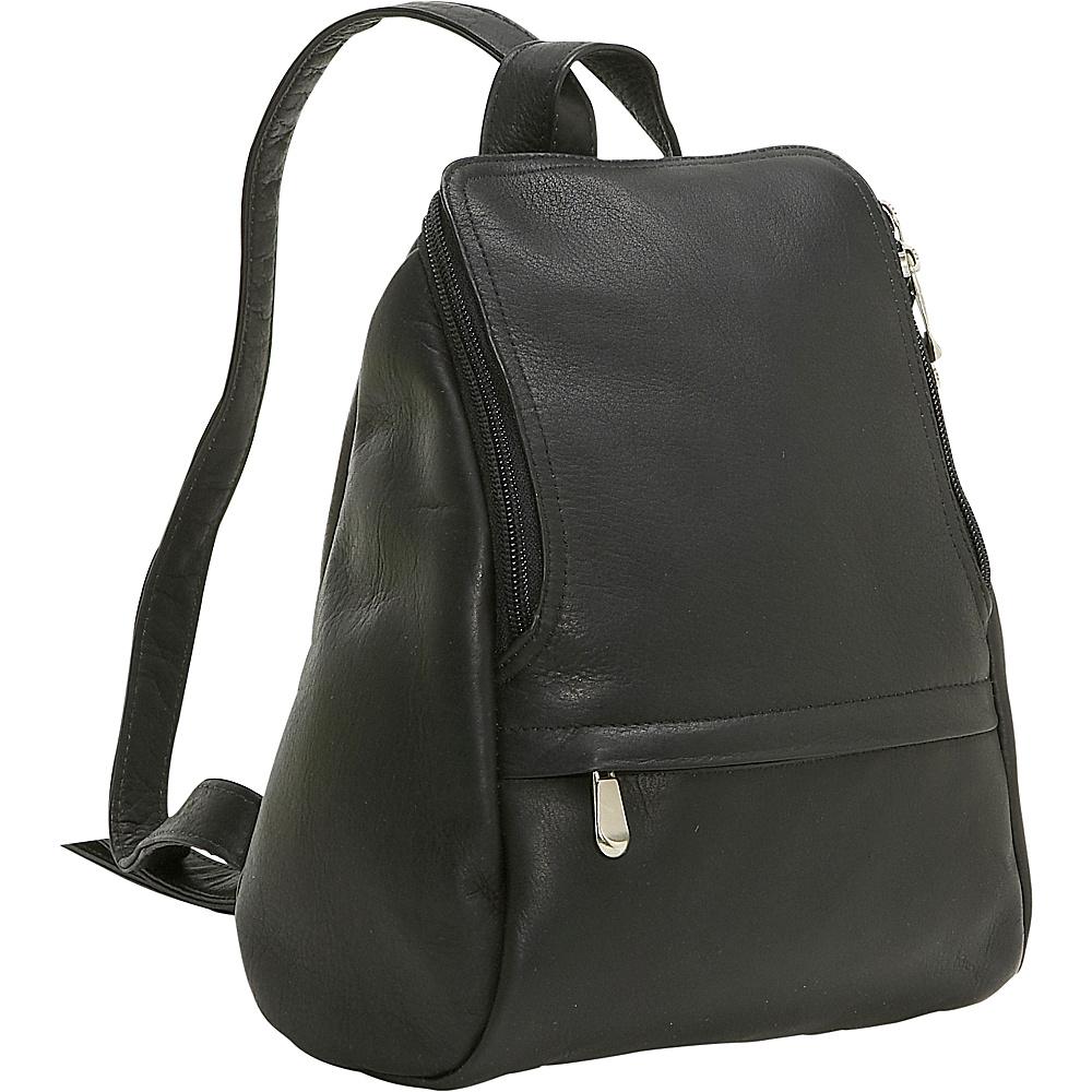Le Donne Leather U-Zip Mini Back Pack - Black - Handbags, Leather Handbags