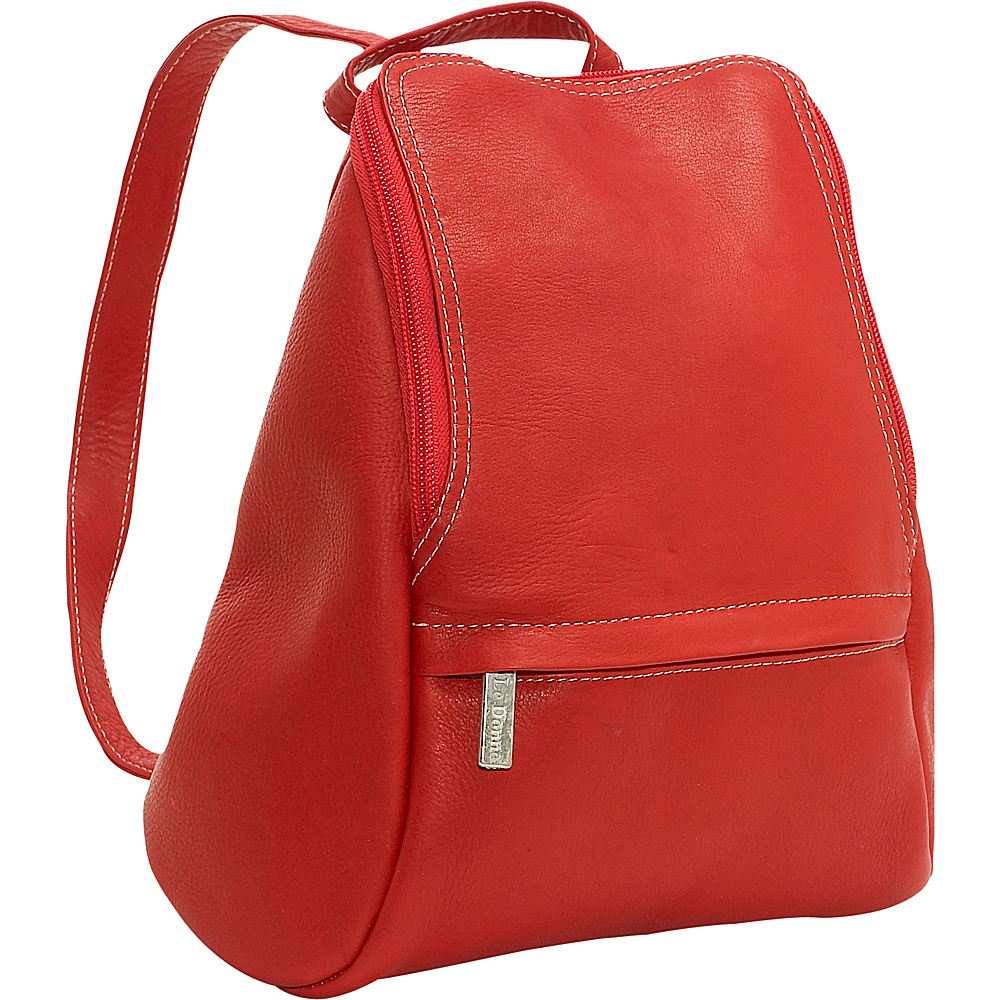 Le Donne Leather U-Zip Mini Back Pack - Red - Handbags, Leather Handbags