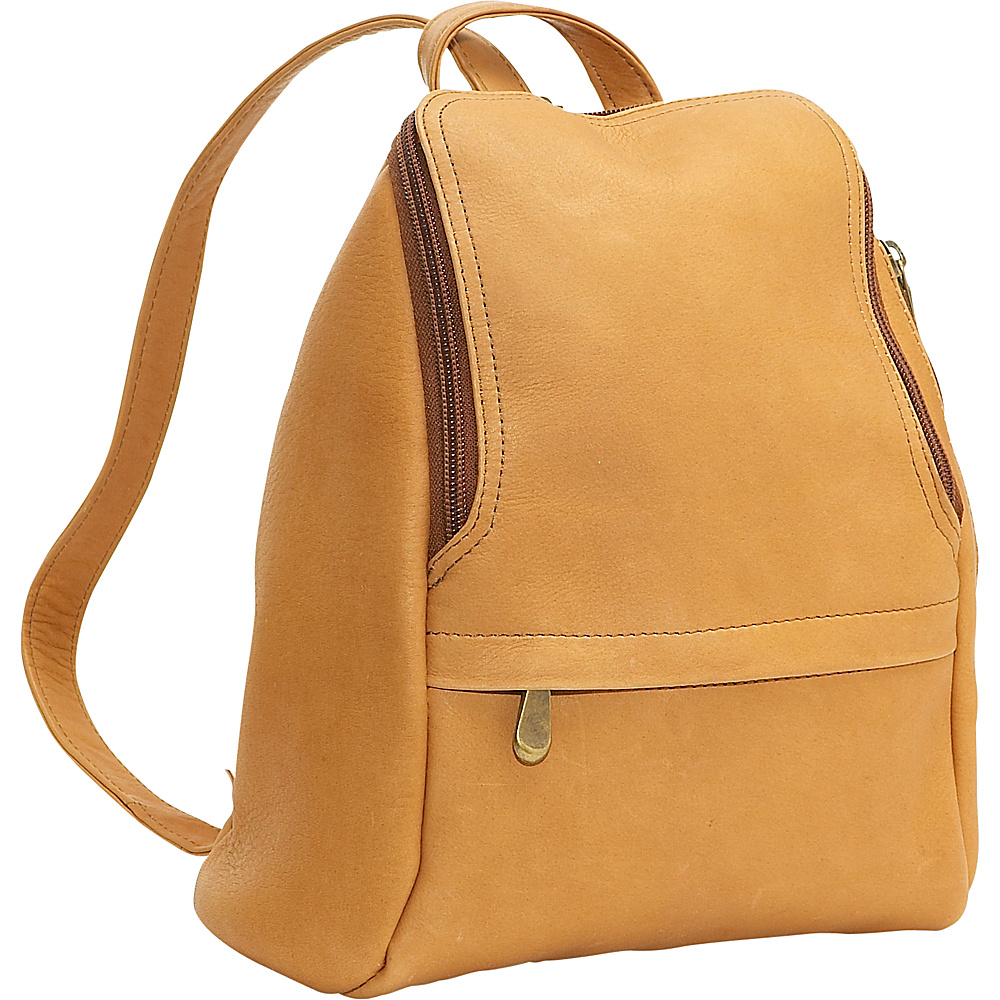 Le Donne Leather U-Zip Mini Back Pack - Tan - Handbags, Leather Handbags