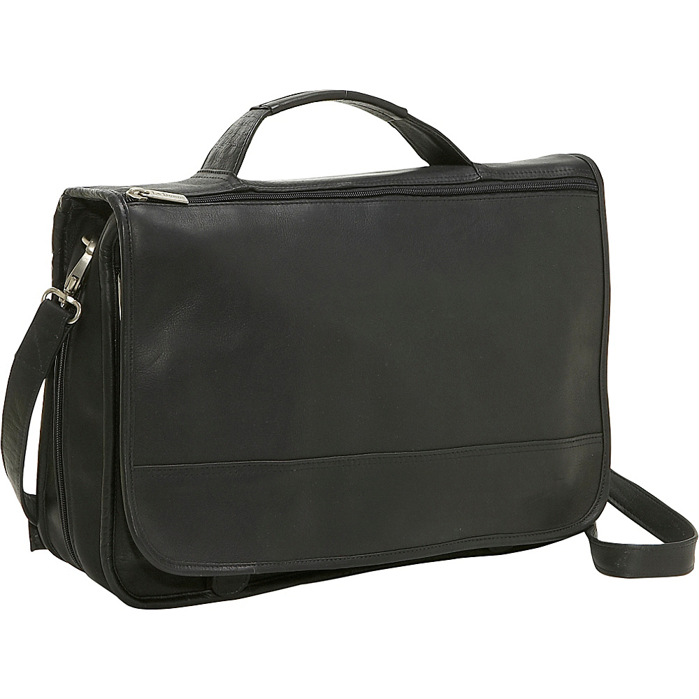 Le Donne Leather Expandable Messenger - Black - Work Bags & Briefcases, Messenger Bags