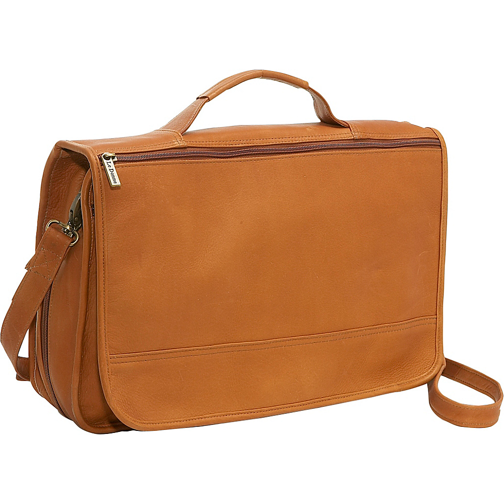 Le Donne Leather Expandable Messenger - Tan - Work Bags & Briefcases, Messenger Bags