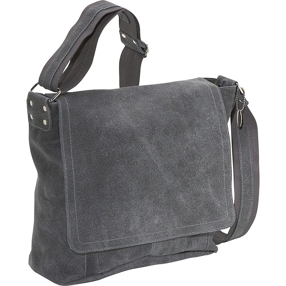 David King & Co. Vertical Simple Distressed Leather Messenger Bag Distressed Grey - David King & Co. Messenger Bags - Work Bags & Briefcases, Messenger Bags
