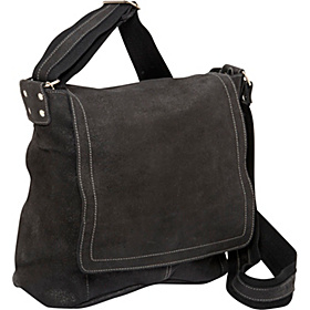 Vertical Simple Distressed Leather Messenger Bag Black